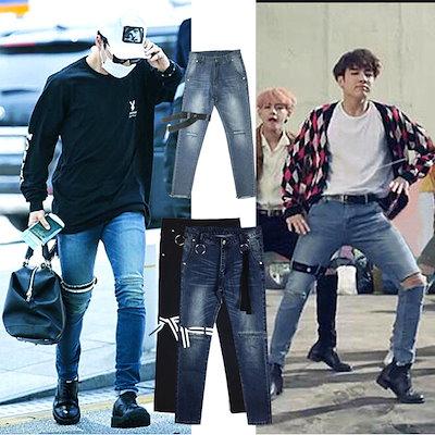 BTS 防弾少年団 JUNG KOOK 韓国ファッション ウォッシュ加工 メンズ 美脚 九分丈ジーンズ