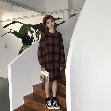 DISCOVER THE  SEASON冬のファッション韓国ファッション女性ファッションロマンチックツイードワンピースニットワンピースパーカデートファッション推薦デーリーウェア
