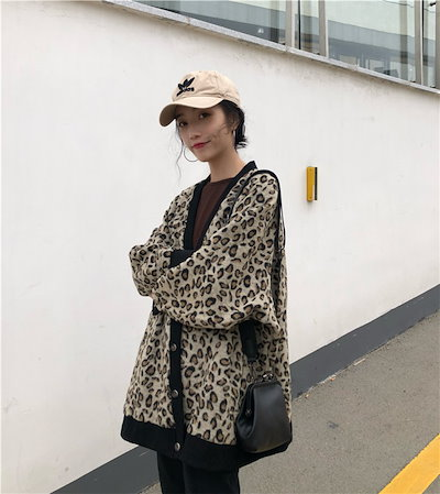 韓国ファッション 大人 大人気 秋冬 新作 超高品質 ロングスリーブ ルーズ ヒョウコート