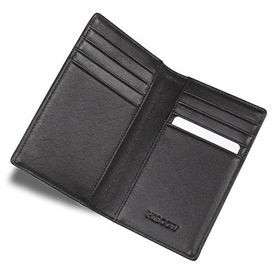 HISCOW Bifold Long Wallet with 15 Credit Card Slots Italian Calfskin Coffee