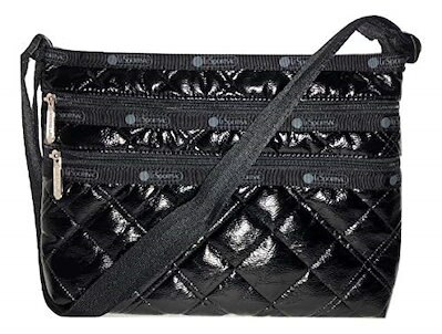 【メール便不可】 LeSportsac Black Crinkle Quilted Patent Quinn Crossbody Handbag, Style 3352/Color H026, 満濃町 cdb6ebf2