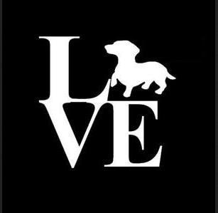 Love Dachshund 6 inches   Vinyl Car Truck Decal Sticker Dogs Rescue Adopt Animals Cute Funny Adorabl