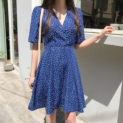 5838302c2c8 ドットラップミニワンピース♥いよいよQOO10入店!大人気韓国女性ファッションブランド