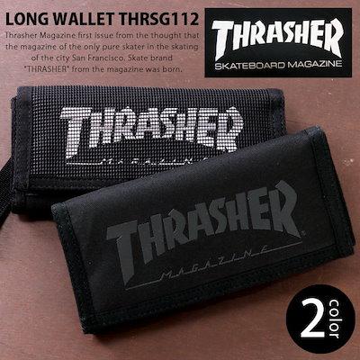 c9b299b022fa 財布 長財布 THRASHER スラッシャー ロングウォレット マジックテープ 小銭入れ ストラップ付き カード入れ 軽量