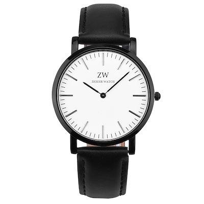 809a2124bd W478 腕時計 メンズ レディース通用 Zeiger 日本製クオーツムーブメント アナログ ウオッチ 30m防水 レザーバンド