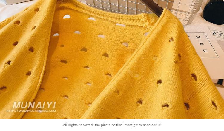 秋季新品セール中★レデース穴開けニットコートアウター★トップスカジュアル★可愛いデザイン★長袖★レデースファッション