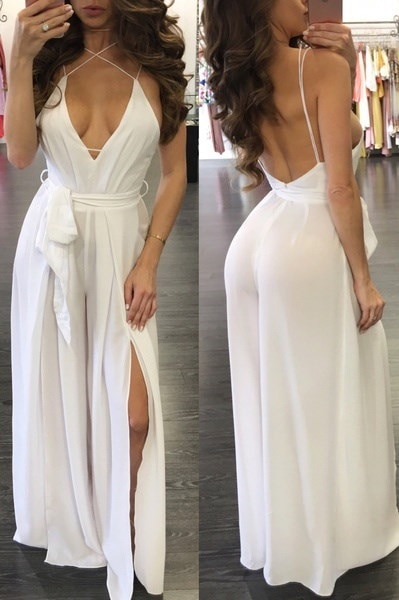 Beach Style Summer Low-cut Long Jumpsuit
