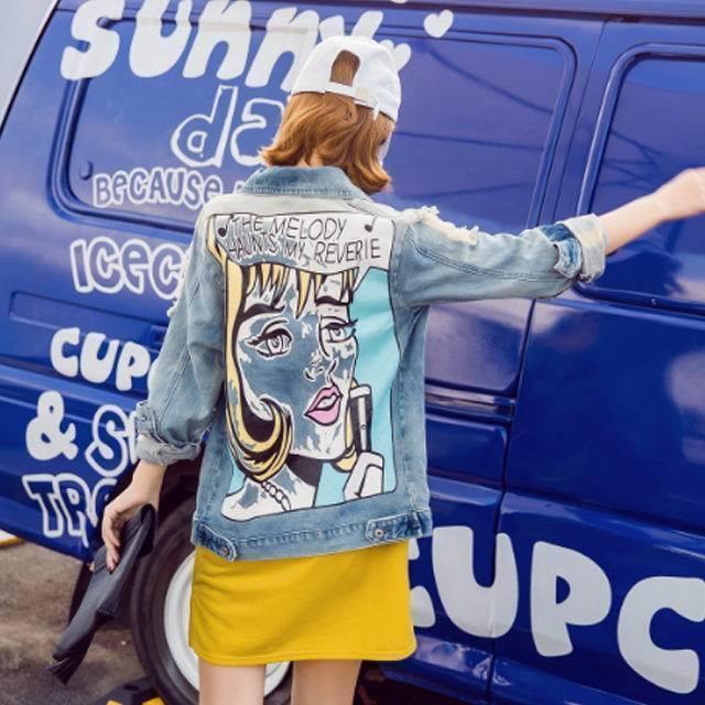 国内発送//[2月中旬発送] デニムジャケット デニムシャツ デニム ジャケット Gジャン シャツ レディース プリント アメカジ ダメージジーンズ韓国ファッション 韓国