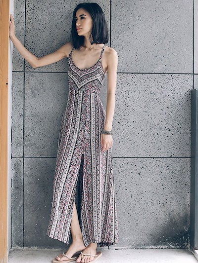 Multicolor Maxi Dress With Straps Print Cross Back Split Chiffon for Women