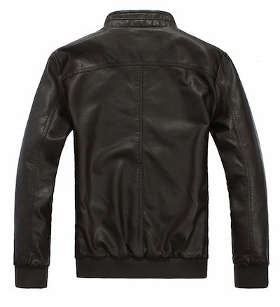 New Fashion Men Zip up Slim Fit Leather Jacket Coat
