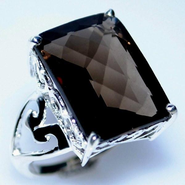 美しいスモーキークォーツ宝石925スターリングシルバー結婚式の婚約指輪レディースジュエリーサイズ6