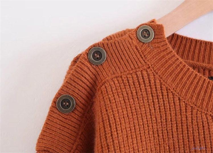 欧米風 全4COLOR    開き可能のボタン装飾ニットトップス ラウンドネック  レディース 長袖 秋冬 トップス セーター  ブラック、グレー、レッド、ブラウン