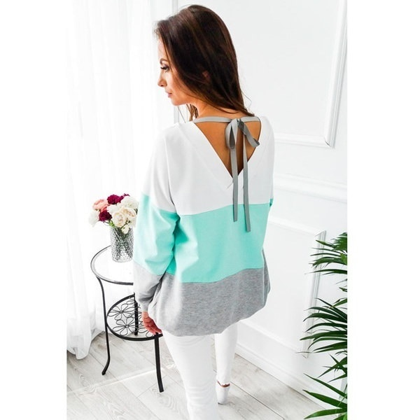 2017女性のファッション冬ニューカジュアルヒットカラーステッチセーターレディースシャツ