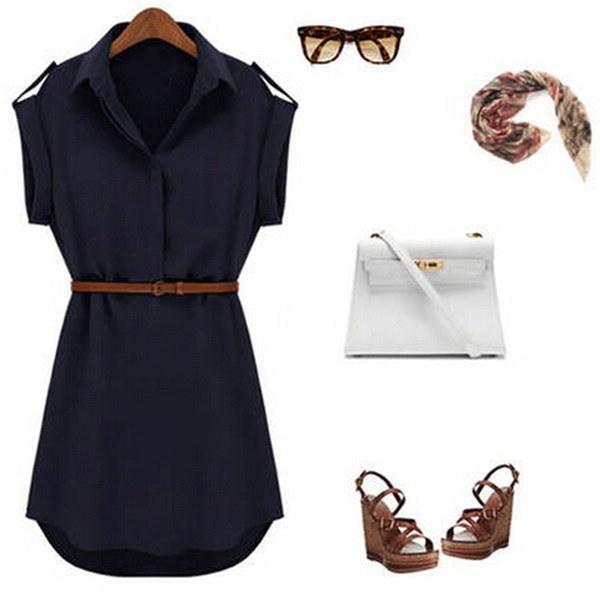 セクシーな女性シフォンカジュアルイブニングドレススリム半袖V襟ファッションベルトシャツのスカートを送信する