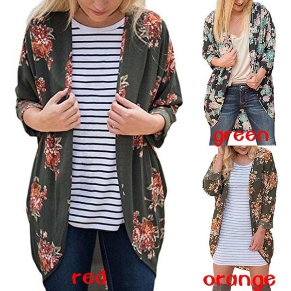 Womens Floral Print Kimono Cardigan Loose Cover Ups Plus Size S-5XL