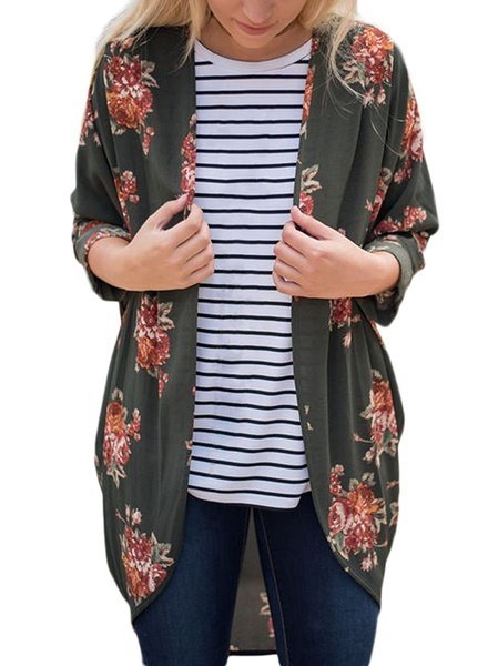 Womens Floral Print Kimono Cardigan Loose Cover Ups Plus Size S-5XL