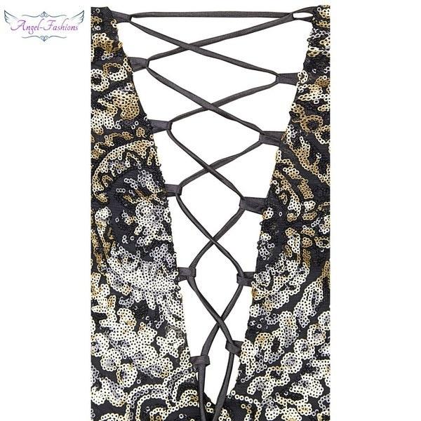 エンジェルファッション女性のノースリーブVネックスパンコールレースアップGastby1920sドレス