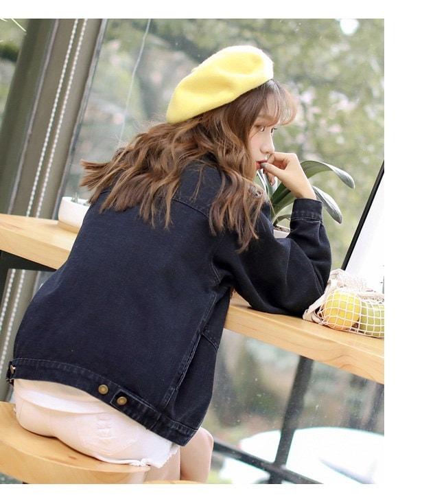 アウター ジャケット デニム 上着  ジージャン  Gジャン  大きいサイズ レディース 可愛い 羽織 女性 オーバーサイズ 秋服 お洒落 フルカラー 黒