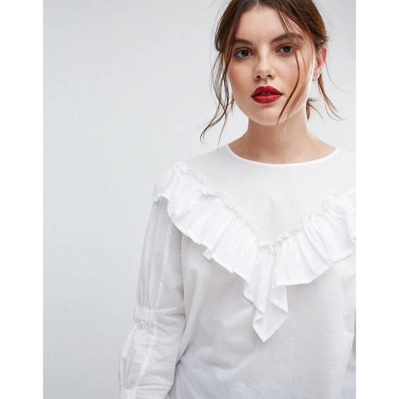 エイソス レディース トップス【ASOS CURVE Cotton Top with Frill Detail & Ruched Sleeve】White