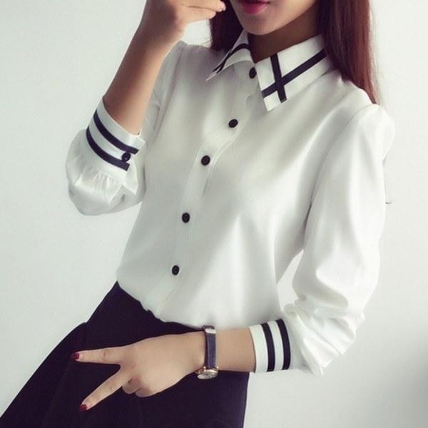 新しい女性のファッションスプリング韓国職業スリム女性ストライプロングスリーブシャツトップブラウス