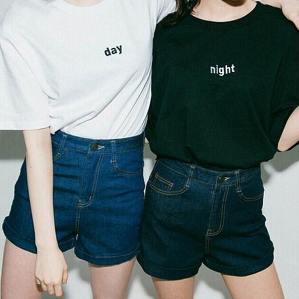 新しい2016夏のファッションTシャツ昼と夜の手紙SunとMoonプリント半袖のゆるいTシャツ