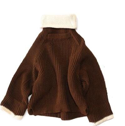 秋 冬 バイカラー ニット セーター タートルネック 長袖 無地 シンプル 大人可愛い ゆったり カジュアル あったか トップス 【MA0375】