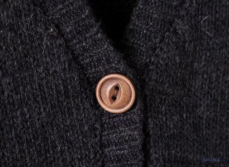 欧米風 Vネックニットセーター ベスト ポケット トップスニット 長袖 お洒落 可愛い 2017秋冬新品 ベーシック  レディース