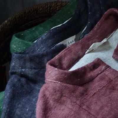 送料無料 リネンワンピース 森ガール チュニック 立ち襟 前開く 無地 9分袖 ゆったり 柔らか ヴィンテージ 薄手コート ミドル丈 通学通勤 秋冬