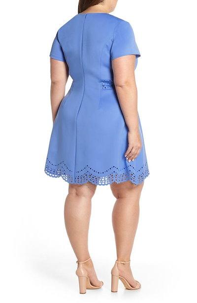 ヴィンスカムート レディース ワンピース トップス Vince Camuto Laser Cut Scuba Crepe Fit & Flare Dress (Plus Size)