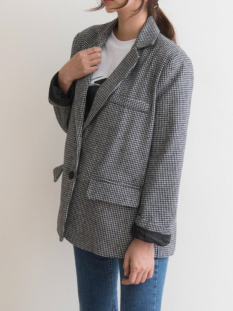 【送料無料】テーラードジャケットはカジュアルにもフォーマルにも着られ、幅広く対応できる定番ジャケットはひとつは持っておきたいアイテム。テーラードジャケット 冬 異素材ミックス 秋 ウール チェック柄