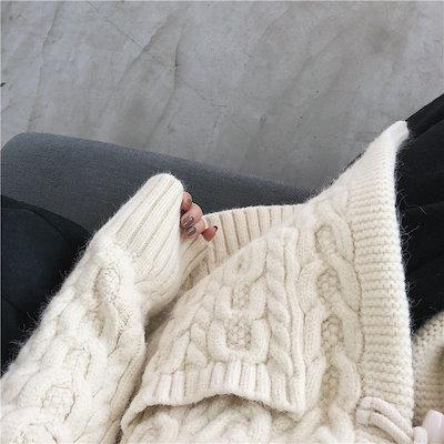 ニットカーディガン ケーブル編み レディース 厚手 ざっくり スクール 長袖 トグルボタン あったか 普段着