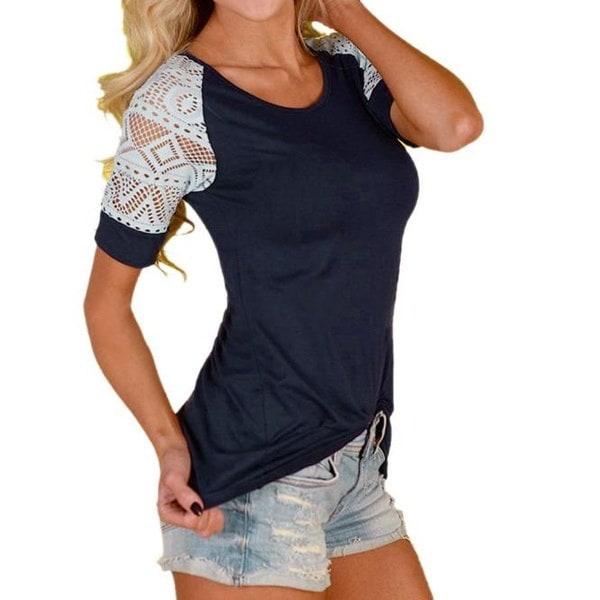 夏のファッションブラウスフェムズカジュアルなHauts dentelleのTシャツの看護士のTシャツ