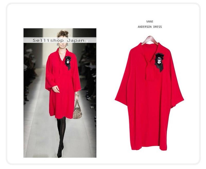 『韓国製』SELLISHOP 【ブローチセット】 Anders ワンピース「大きいサイズ 大人 韓国 ファッション・結婚式・フォマール 黒 フレア 30代 40代 50代 スレンダー・Aライン,上品・