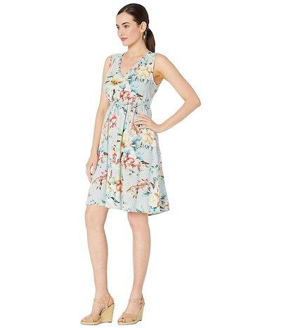トリバル レディース ワンピース トップス Printed Challis Sleeveless V-Neck Dress with Ruffle Detail