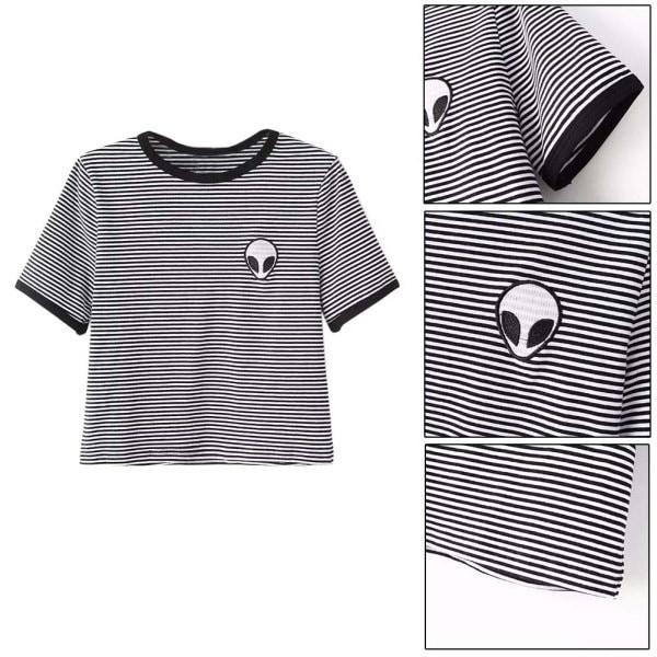 夏の女性の半袖Teeブラウスカジュアルな作物のトップエイリアン印刷のTシャツS-XL