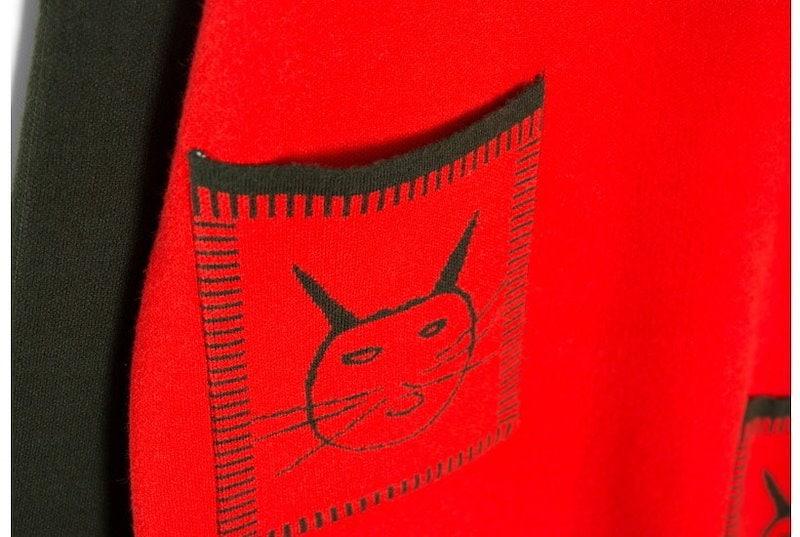 『香港製』 Cat knit ワンピース「大きいサイズ 大人・結婚式・ 黒 フレア・ママワンピ・黒Aライン、シャツ・コットン フォーマル