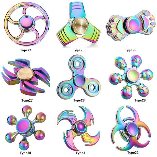 レインボーメタルハンドスピナーEDC Fidget Spinner Toys