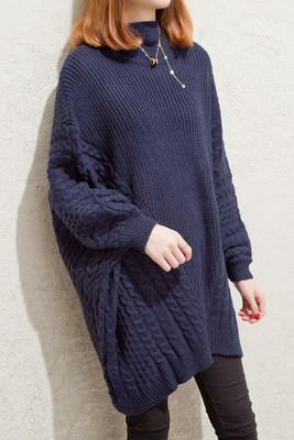 ニット 秋冬 タートルネック 長袖 ファッション 暖かい ゆったり 女性 レディーズ 無地 シンプル