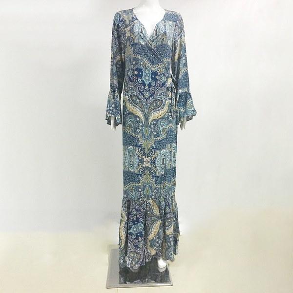 Boho花プリントシフォンスプリットロングドレス女性ビーチ夏Vネック着物セクシードレスマキシドレス