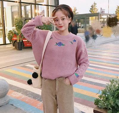ハングルセレブstyle 刺繍 長袖 ニット セーター 大人気 全3色 新作
