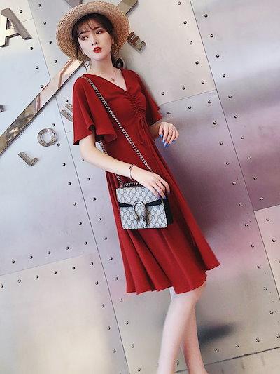 春夏 レディース ワンピース 大きいサイズ サマードレス ひざ丈 半袖 五分袖 FA-1043