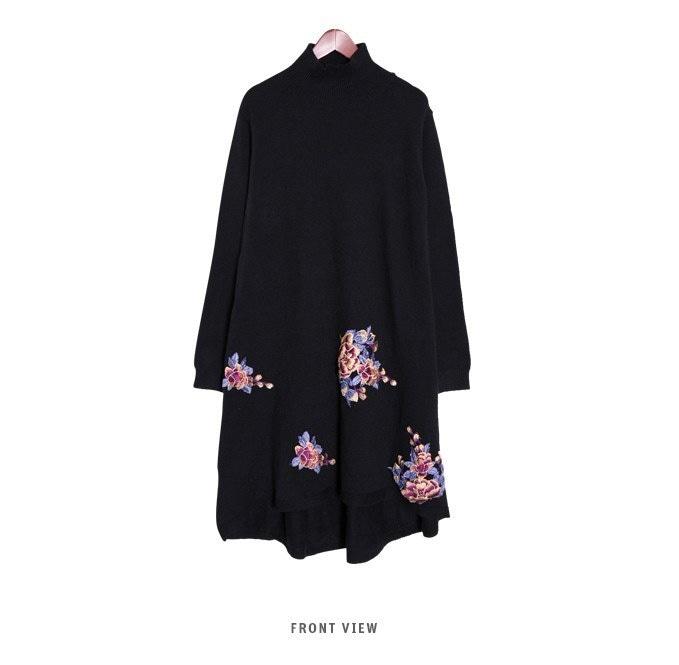 『韓国製』 Flower black ワンピース「大きいサイズ 大人・結婚式・ 黒 フレア・ママワンピ・黒Aライン、シャツ・コットン フォーマル
