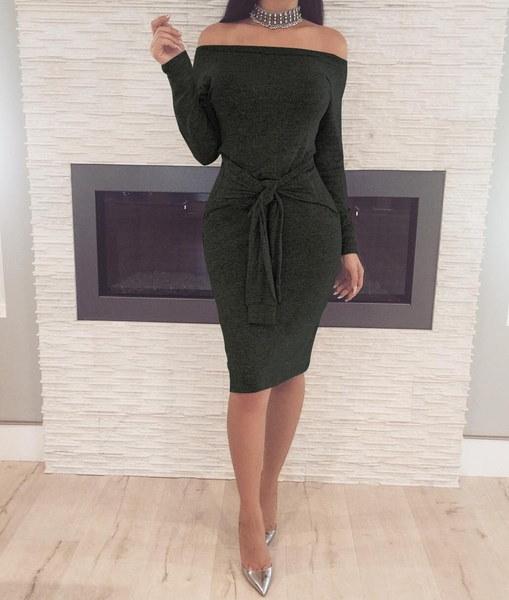 新しいセクシーなレディースファッション秋のドレスオフショルダーエレガントなロングスリーブドレスレディースセクシーなカクテル