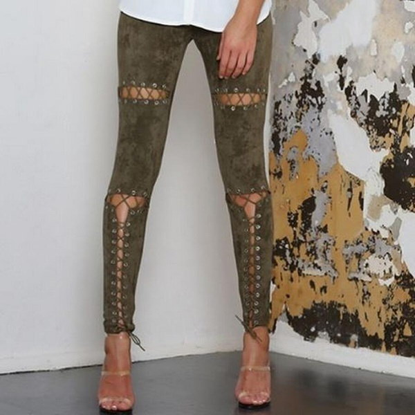 2017 Europe style fashion women sexy strap suede casual pants spring and summer trousers Women retro