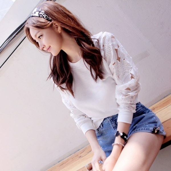 Women s Autumn Sexy Lace O-Neck T-shirt Solid Color Long Sleeve Bottoming Shirt Tops