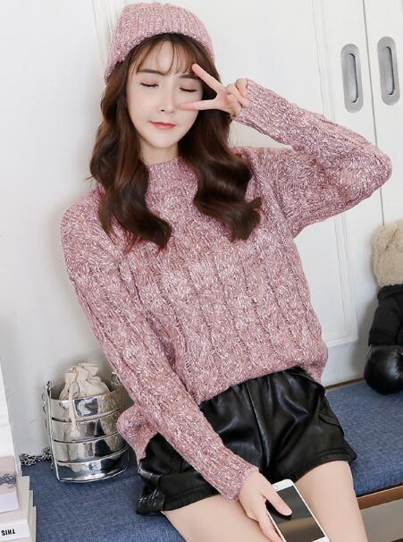 最適なハイネックセーター/レディース/韓国風/ショート丈/簡単/シンプル/デニムパンツと