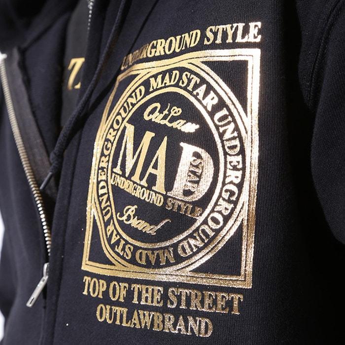 MAD☆STAR フード付きゴールドLOGOジップパーカー【マッドスター】
