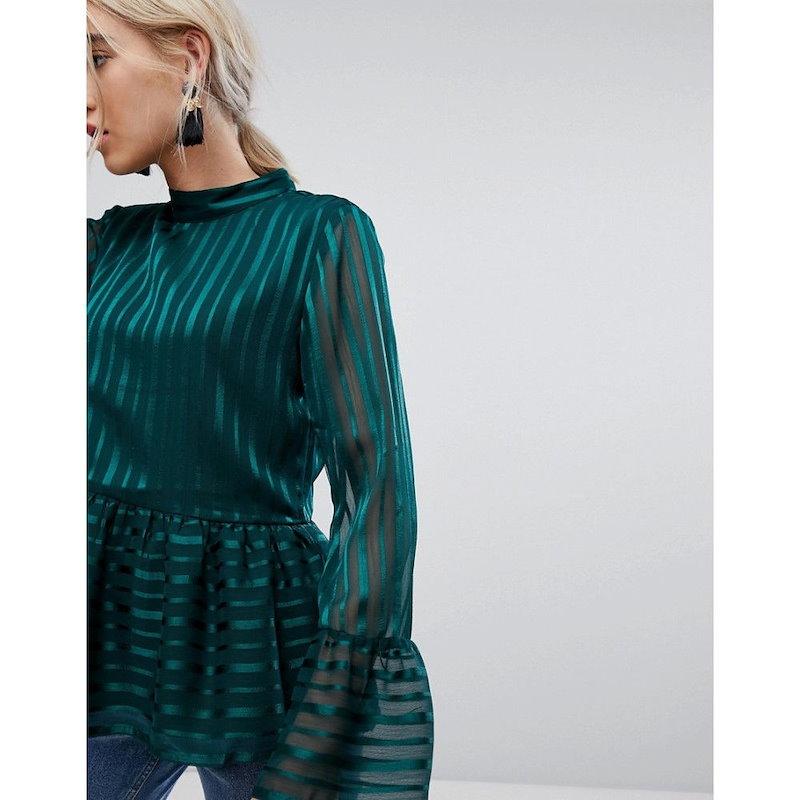 ヴィラ レディース トップス【Vila Striped Frill Hem Shell Top】Green