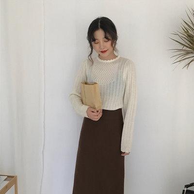 透かし編み、袖口襟元のスカラップデザインがかわいいニットトップス 結婚式 婚活 二次会 お呼ばれ パーティー ドレス 2018