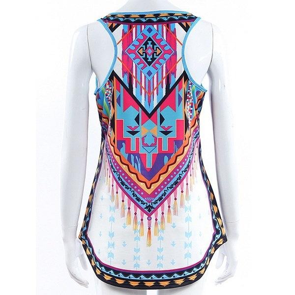 夏のファッション女性のセクシーな不規則なノースリーブデジタル印刷ベストS  -  XXXXXL